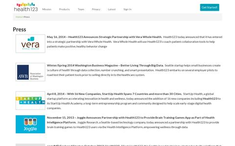 Screenshot of Press Page health123.com - Press - captured July 18, 2014
