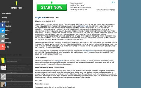 Screenshot of Terms Page brighthub.com - Bright Hub Terms of Use - captured Aug. 3, 2018