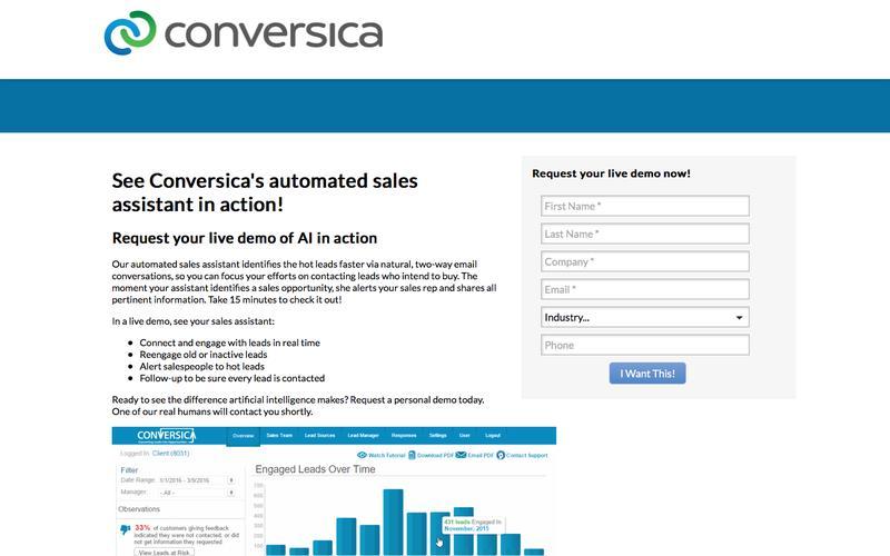 Request a demo of the Conversica AI Assistant