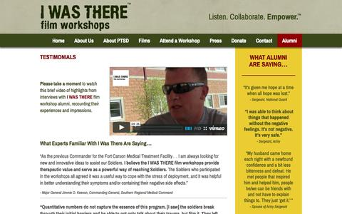 Screenshot of Testimonials Page iwastherefilms.org - Testimonials - I Was There Films - captured Oct. 2, 2014