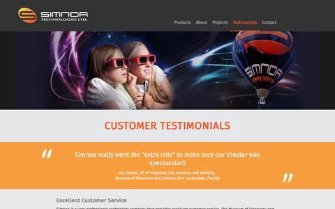 Screenshot of Testimonials Page simnoa.com - Customer Testimonials - Simnoa - captured Nov. 4, 2017