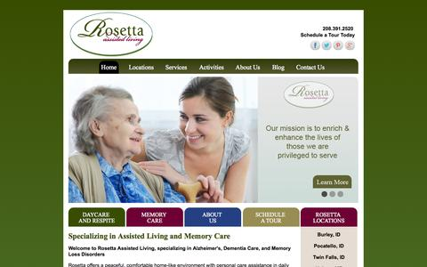 Screenshot of Home Page rosettahomes.com - Assisted Living | Memory Care Homes @ Rosetta Homes - captured Jan. 27, 2015