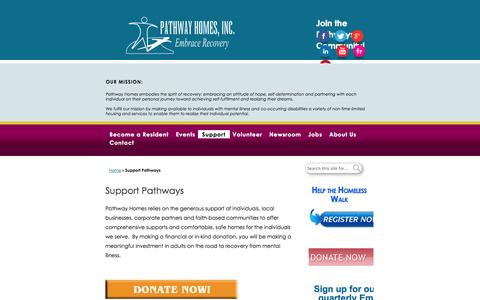 Screenshot of Support Page pathwayhomes.org - Support Pathways - Pathway Homes - captured Oct. 2, 2014