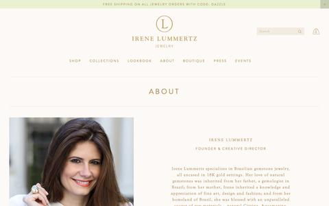 Screenshot of About Page irenelummertz.com - Irene Lummertz Jewelry— About - captured Oct. 15, 2017