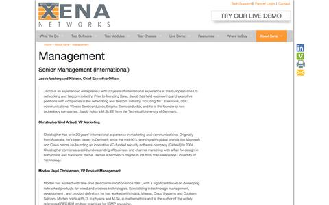 Screenshot of Team Page xenanetworks.com - Senior Management Team at Xena NetworksXena Networks - captured Oct. 29, 2014