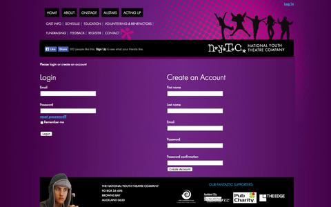 Screenshot of Login Page nytc.co.nz - Log In to Your Account - National Youth Theatre Company of New Zealand - captured Oct. 26, 2014
