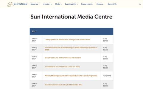 Screenshot of Press Page suninternational.com - Media - captured Oct. 26, 2017