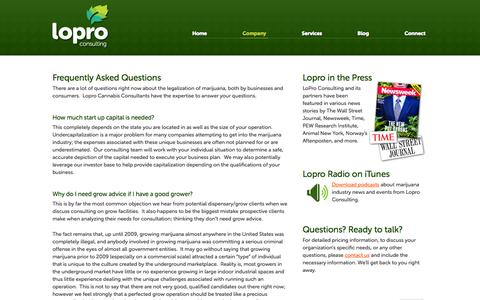 Screenshot of FAQ Page loproconsulting.com - Frequently Asked Questions | LoPro Consulting - captured Sept. 30, 2014