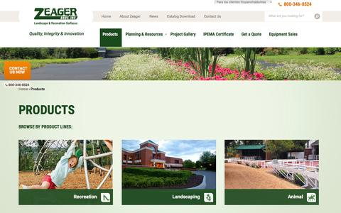 Screenshot of Products Page zeager.com - Landscaping & Recreation Products | Zeager Bros. - captured Feb. 23, 2016