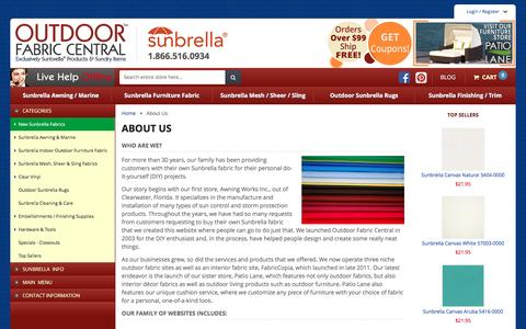Screenshot of About Page outdoorfabriccentral.com - About Us - Outdoor Fabric Central - captured Feb. 11, 2016