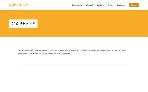 Screenshot of Jobs Page galvanize.it - Careers — Galvanize - captured Sept. 19, 2014