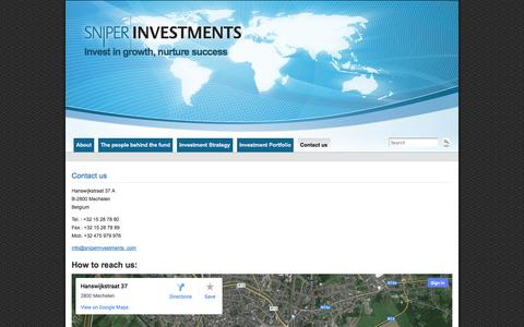 Screenshot of Contact Page sniperinvestments.com - Contact us » Sniper Investments - captured Oct. 1, 2014