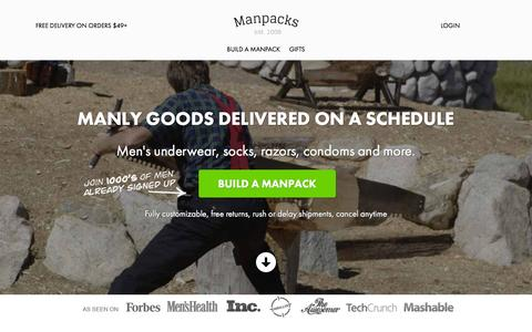 Screenshot of Home Page manpacks.com - Manpacks. Underwear, Socks & Razor Subscription - captured Feb. 23, 2016