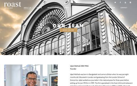 Screenshot of Team Page roast-restaurant.com - Our Team | Roast Restaurant - captured Dec. 1, 2015