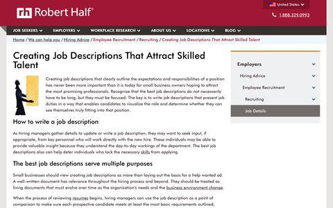 Screenshot of roberthalf.com - Creating Job Descriptions That Get Results | Robert Half - captured June 19, 2017