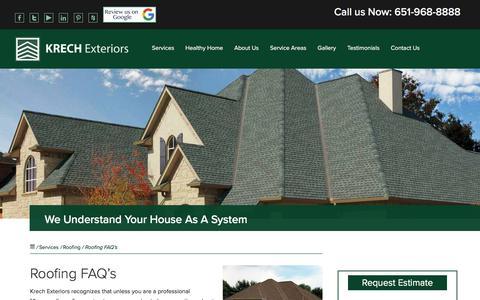 Screenshot of FAQ Page krechexteriors.com - Roofing FAQ's   Krech Exteriors   Inver Grove Heights, MN - captured Sept. 20, 2018