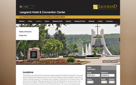 Screenshot of Locations Page leograndhotels.com captured Oct. 1, 2014