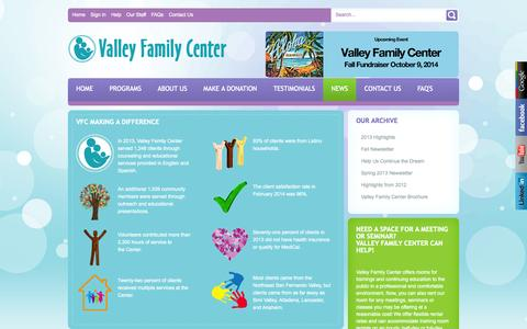 Screenshot of Press Page valleyfamilycenter.org - News - captured Oct. 1, 2014
