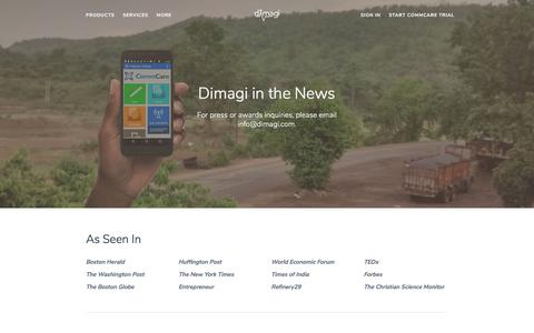 Screenshot of Press Page dimagi.com - Dimagi in the News - captured March 22, 2018