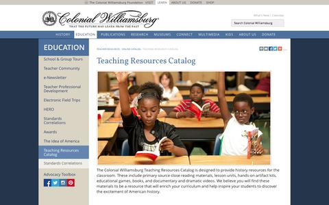 Screenshot of Products Page history.org - Teaching Resources Catalog : The Colonial Williamsburg Official History & Citizenship Site - captured Sept. 25, 2014
