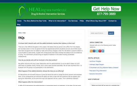 Screenshot of FAQ Page healingseaturtle.com - FAQs | Addiction Intervention Services | HEALing sea turtle - captured July 11, 2017