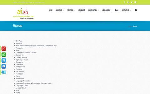 Screenshot of Site Map Page ansh.com - Sitemap - Best professional foreign language translator & translation company India - captured Oct. 3, 2018
