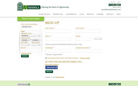 Screenshot of Signup Page waddellrealtyco.com - Sign Up - captured Oct. 8, 2014