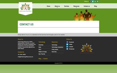 Screenshot of Contact Page arthaenergyresources.com - Artha Energy Resources - captured Sept. 30, 2014