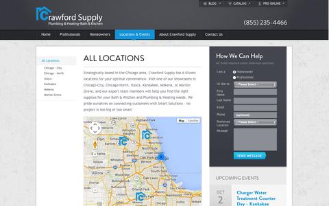 Screenshot of Locations Page crawfordsupply.com - Illinois Locations – Chicago Area | Crawford Supply - captured Sept. 30, 2014
