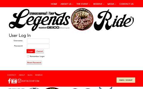Screenshot of Login Page legendsride.com - User Log In - captured Oct. 24, 2018