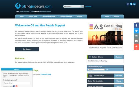 Screenshot of Support Page oilandgaspeople.com - Oil and Gas People Support - Oil and Gas People - captured June 16, 2017