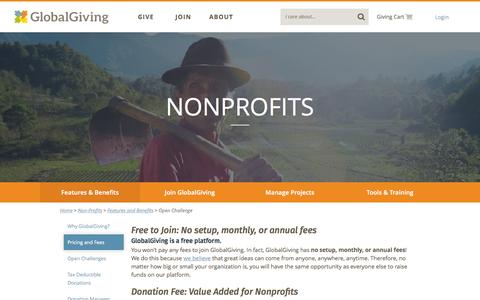 Screenshot of Pricing Page globalgiving.org - No setup, monthly, or annual fees - GlobalGiving - captured Nov. 11, 2015