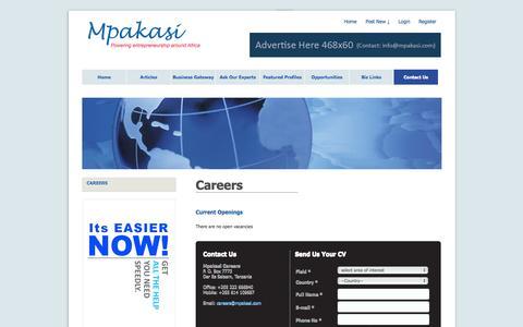 Screenshot of Jobs Page mpakasi.com - Careers » Contact us - captured Oct. 9, 2014