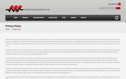 Screenshot of Privacy Page prpinc.com - Privacy Policy  |  Precision Resistive Products - captured Nov. 10, 2016