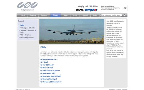 Screenshot of FAQ Page cbceurope.com - CBC Europe - Offering the latest video tutorials and FAQ's - captured Oct. 1, 2014