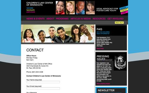 Screenshot of Contact Page clcmn.org - Contact | Children's Law Center of Minnesota - captured Oct. 2, 2014