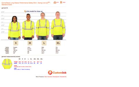 Screenshot of customink.com - CustomInk.com Sizing Line-Up for CornerStone Long Sleeve Performance Safety Shirt - Standard Sizes - captured Aug. 19, 2016