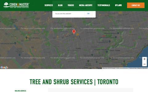 Screenshot of Contact Page cmtrees.com - Contact Toronto's Expert Arborists - Cohen & Master Trees - captured Sept. 28, 2018