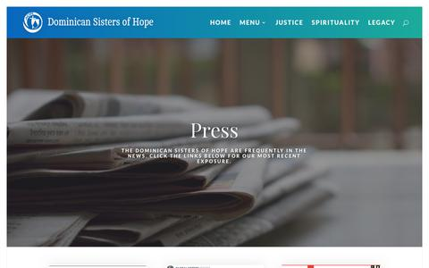 Screenshot of Press Page ophope.org - Press - Dominican Sisters of Hope - captured Dec. 19, 2018