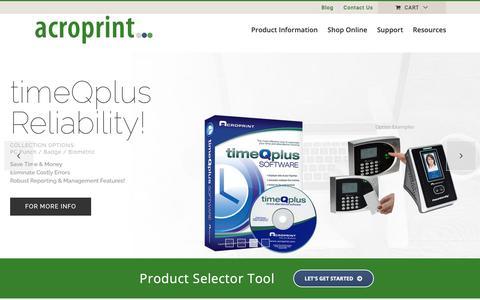 Screenshot of Home Page acroprint.com - Workforce Management Software, Time Clocks, Time Stamps   Acroprint Time Recorder Co. - captured Nov. 12, 2018