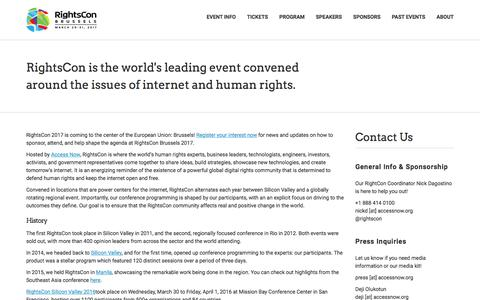 Screenshot of About Page rightscon.org - About and Contact | RightsCon Summit Series - captured Jan. 6, 2017