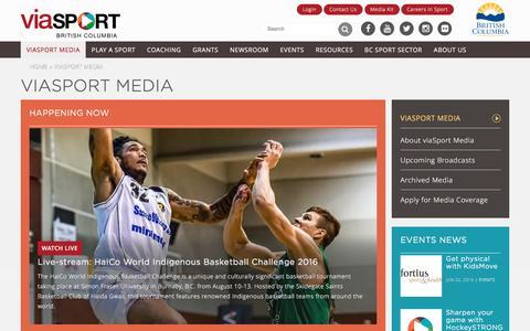 Screenshot of Press Page viasport.ca - viaSport Media | viaSport - captured Aug. 13, 2016