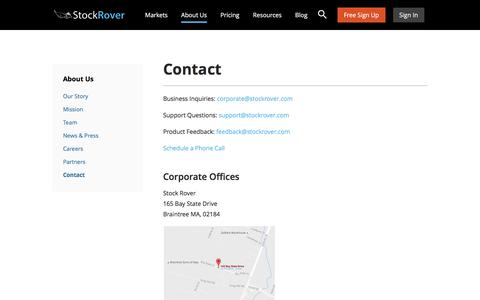 Screenshot of Contact Page stockrover.com - Contact - Stock Rover - captured Dec. 14, 2016