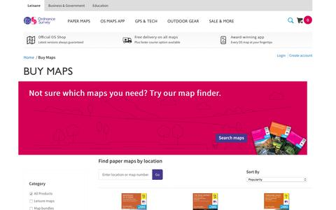 Screenshot of Maps & Directions Page ordnancesurvey.co.uk - Buy Maps. OS Explorer, Landranger, Road & Map Gifts | Ordnance Survey Shop - captured Oct. 10, 2019