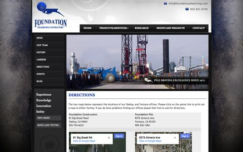 Screenshot of Maps & Directions Page foundationpiledriving.com - Directions - captured Oct. 6, 2014