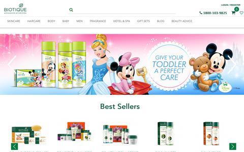 Screenshot of Home Page biotique.com - Biotique Advanced Ayurveda - captured Aug. 2, 2018