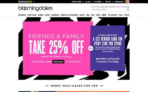 Screenshot of bloomingdales.com - Shop Bloomingdale's | Designer Dresses, Clothes, Shoes, Handbags, Cosmetics, Home and More - captured Nov. 11, 2015