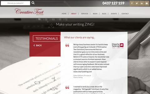 Screenshot of Testimonials Page creativetext.com.au - Creative Text Solutions - Testimonials - captured Nov. 13, 2016