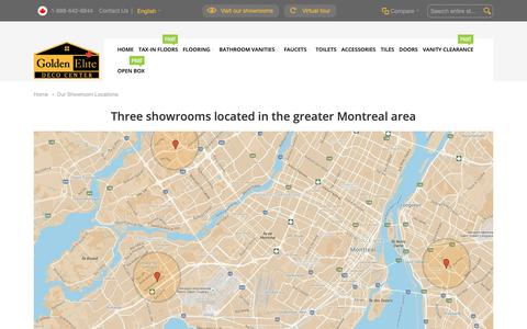Screenshot of Contact Page Locations Page goldenelitedeco.com - Our Showroom Locations - captured Oct. 24, 2018