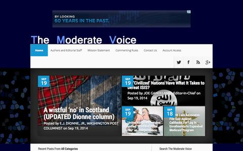 Screenshot of Home Page themoderatevoice.com - The Moderate Voice | An Internet hub with domestic and international news, analysis, original reporting, and popular features from the left, center, indies, centrists, moderates, and right - captured Sept. 22, 2014